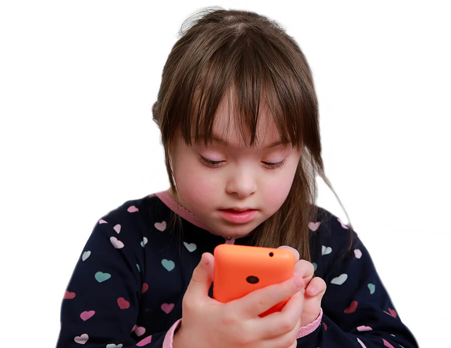 downs syndrome child with orange iphone