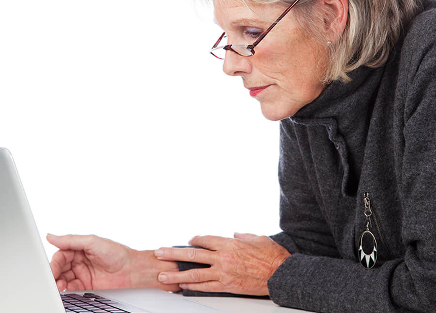 older citizen using computer